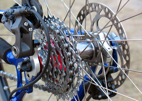 Close-up image of mountain bike sprockets
